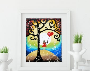 Inspirational Art Print, Whimsical Art Giclee Print, Girls Wall Art, Children Room Decor, Kids Art, Signed Print