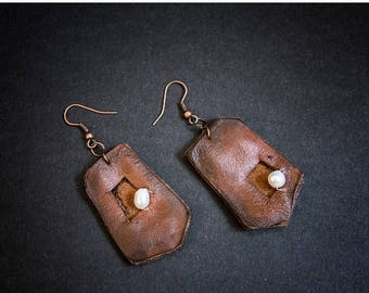 40% OFF SALE Rustic long leather earrings with pearls  Designer jewelry Elegant dangle earrings