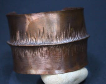 Unisex Wide Copper Foldformed Cuff Bracelet