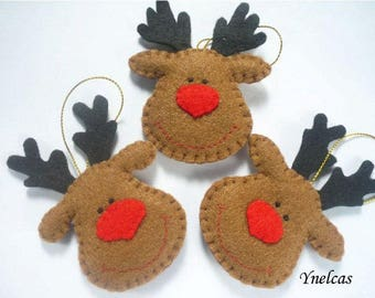 Reindeer felt Christmas ornament handmade holiday decorations personalized felt ornament - ONE ORNAMENT