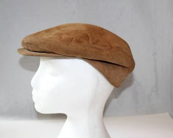 Vintage Genuine Leather Newsboy Cap, North King,, 1950's