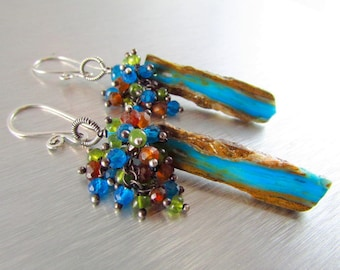 Peruvian Blue Opal Slices With Vesuvianite, Neon Blue Apatite, And Hessonite Garnet Oxidized Sterling Earrings