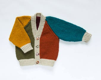 Baby Boys Harlequin Cardigan Vintage Colours. Hand Knit Cardigan. Hand Knit Sweater. Hand Knit Childrenswear.
