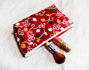 Fabric Zipper Pencil Case, Red Floral Fabric Pouch, Pencil Pouch, Zipper Case, Cosmetic Bag, Pouch, School Supply, Red Dobby Zipper Case
