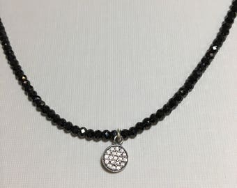 Black spinel necklace cz silver round pendant