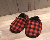 Buffalo Plaid Baby Slippers - Booties - Crib Shoes - Red Black - Lumberjack