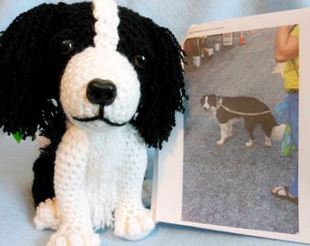 Crochet Dog, Border Collie, Made to Look Like Owner's Dog, Custom Made, Canine, Stuffed Dog,Pet Memorial, Pet Remembrance, Look Alike