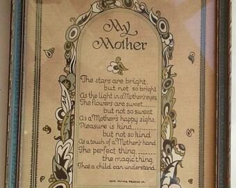 My MOTHER Vintage Mother's Day Poem Art Deco Framed Picture Mom Love Sentimental Print