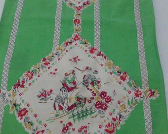 Vintage Linen Tea Towel with Children Playing