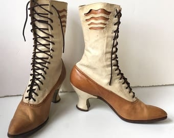 Glorious Women's Victorian Two-Tone Lace Up Boots with Cut-out Wave Design - Museum Piece!