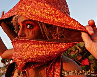 Holographic Sparkle Hood Scarf Orange/ Rainbow