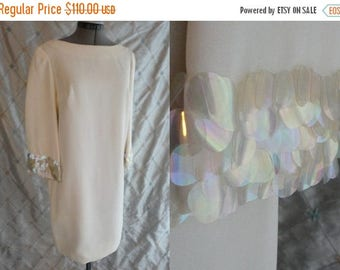 ON SALE 60s Dress // Vintage 1960's Ivory Crepe Dress with Spangle Sleeves  Size M iridescent spangles wedding
