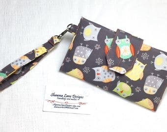 women's wallet, gray wallet featuring owls, organizer wallet, checkbook, cell phone accessory, wristlet, ready to ship affordable gift
