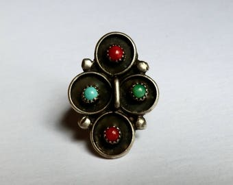 Vintage Turquoise Silver Coral Ring Circular Designs Small Stone Centers