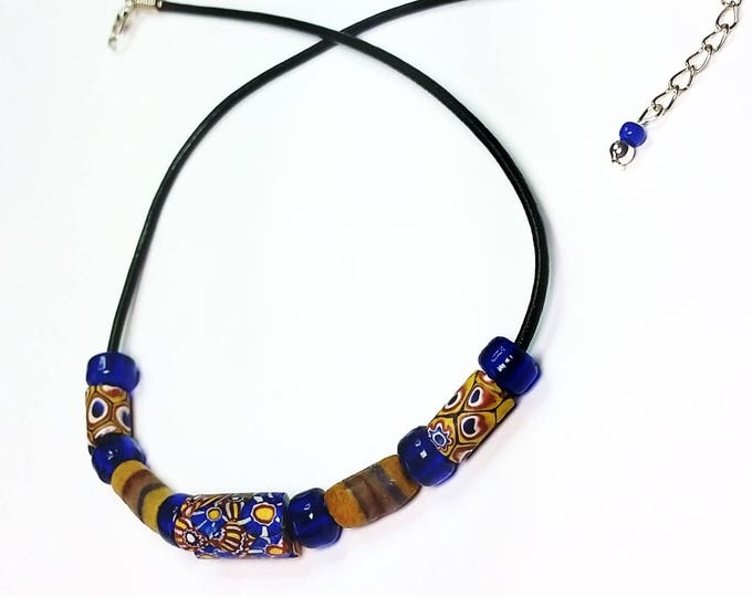Trade Beads - Choker Necklace - Leather Cord Necklace - Adjustable Necklace - Millefiori Beads