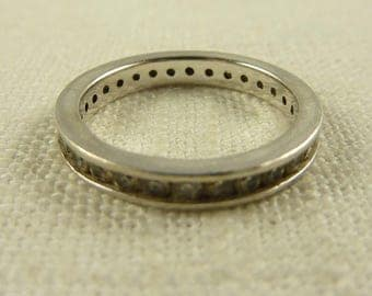 infinity band. size 7.25 vintage sterling and cubic zirconia pave infinity band