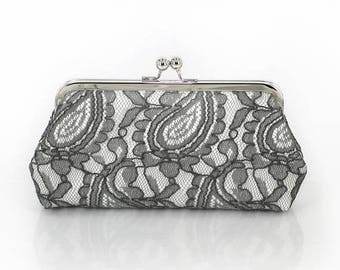 HALF PRICE SALE Grey and Ivory Alencon Paisley Lace Clutch | Wedding Clutch for Mother Ready to Ship