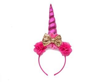 Party Girl | Unicorn DIY DELUXE Headband Hot Pink + Gold | Peony Shabby Chiffon Flowers | Great for  Princess Parties & Birthdays