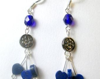 SALE, 50%, Cobalt blue and Lapis hearts dangle earrings, heart earring, blue earrings, holiday earrings, lapis heart earring, czech cobalt b