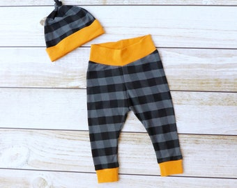 Buffalo Plaid Baby Leggings - Baby Pants - Boy Leggings and Hat Set - Baby Gift - Baby Take Home Outfit - Plaid Boy Set - Zaaberry