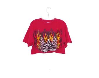 vintage 90s FLAME SHIRT / coolest 90s crop top t shirt tee rolled hem oversized fit 90s grunge 90s clothing 8 ball biker band shirt