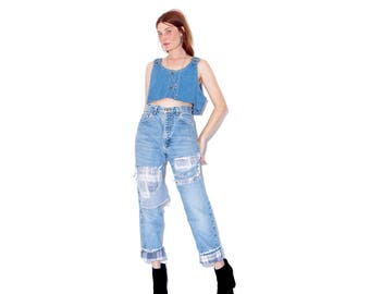 vintage CARHARTT FLANNEL LINED Jeans / high waisted jeans boyfriend jeans mom jeans plaid blanket lined jeans ripped jeans distressed jeans