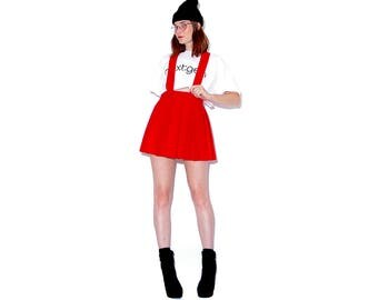vintage OVERALL DRESS / felted wool pleated skirt cheer skirt cheerleading uniform overalls pinafore jumper high waisted skirt tennis skirt