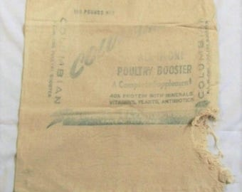 Vintage Feed Sack Bag, Feed Sack Bag, Cloth Feed sack bag, poultry booster, heavy feedsack, Chicken Feed Sack, Columbian Feed Sack