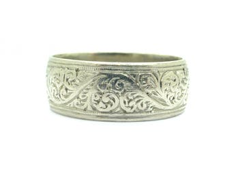 Antique Art Deco Platinum hand engraved wedding band Unique English wide wedding ring 6.3 grams *FREE SHIPPING