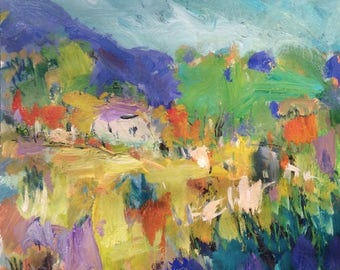 Large abstract expressionist landscape  painting, Russ Potak