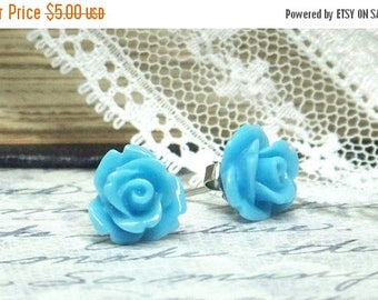 Blue Rose Stud Earrings Blue Flower Studs Sky Blue Rose Earrings Surgical Steel Stud Blue Flower Earrings