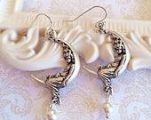 SALE 20% Off Crescent Moon Jewelry - Fairy Moon Earrings - Goddess Jewelry - Silver Boho Earrings - Art Nouveau Jewelry - LUNA Silver