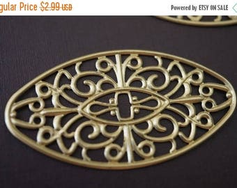 SUMMER SALE Long Oval Victorian Filigree Stamping Wraps - 50mm x 27mm - 6 pcs