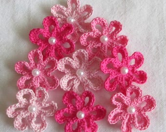 Crochet Flower Appliques, Star Flowers with Beads, Pink - set of 9