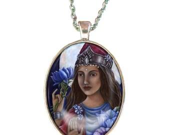 Goddess Lakshmi statement necklace - hindu goddess - pendant necklace - goddess of prosperity - hindu necklace - Indian jewelry