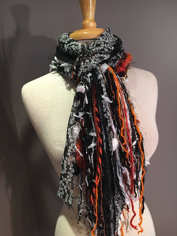 SALE Halloween accessories, Fringe tied scarf, Fringie in Black Orange with skull ribbon, Office Halloween scarf, scarves and wraps, skulls