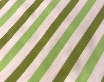 One yard of vintage sheet fabric  Green stripes