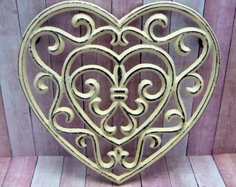 Heart Cast Iron Trivet Hot Plate Off White Cream Shabby Chic Fleur de lis FDL French Country Kitchen Decor