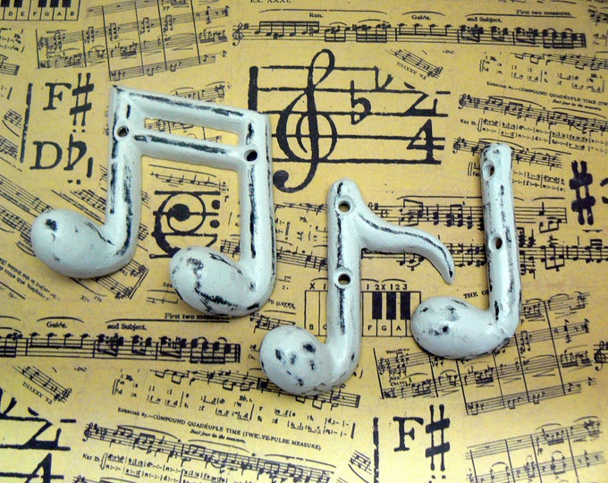 Musical Notes Cast Iron Wall Decor Set Symbols Shabby Chic White