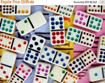 ON SALE One Dozen Happy Glass Dominos