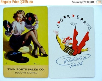 ONSALE Vintage 1940 Kitsch Highly Collectable Pin up Joker Advertisement  Art Deco Card