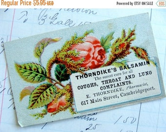 ONSALE Rare Antique Medical Druggist  Lithograph Trading Card must read testimonials