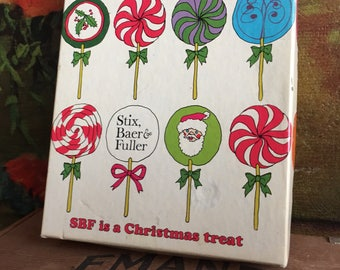 Stix, Baer and Fuller Gift Box Vintage Retro Small Christmas Holiday Decor Lollipops