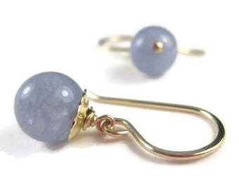 Aquamarine Earrings Simple Blue Gemstone Drop Earrings Sterling Silver or Gold