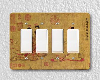 Admonitions Scroll Chinese Painting Quadruple Decora Rocker Light Switch Plate Cover