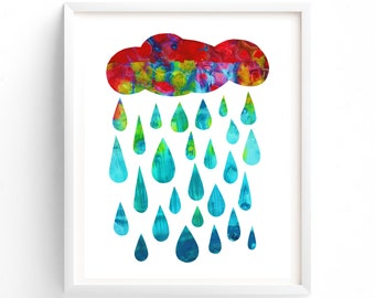 Printable Nursery Art, Rain Drops, Rain Cloud, Wall art, Gender Neutral, Nursery decor