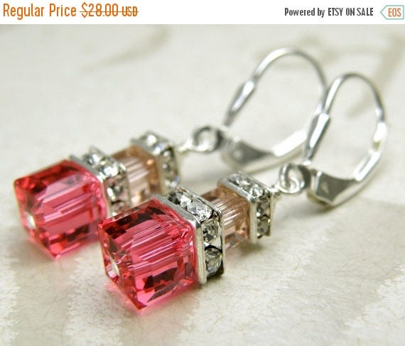 Petite Cube Pink and Blush Crystal Earrings, Sterling Silver, Bridesmaid Swarovski Gift, Spring Wedding Jewelry, Handmade, Ready To Ship