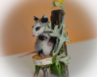 Miniature Opossum w Fairie Woodland Twig Chair OOAK Needle felted Soft Sculpture by Bear Doll Artist Stevi T.