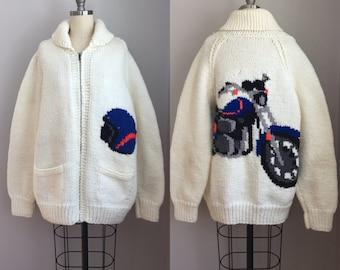 Vintage 1960s Hand Knit Zip Up Cowichan Motorcycle Biker Sweater Size XL