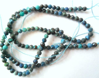 "Azurite Chrysocolla 16"" Bead Strand, 3mm Micro Faceted Beads"